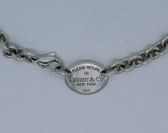 79ccc5511 Please Return to Tiffany & Co Oval Tag Chain Necklace Choker 925 Sterling  Silver 15.5 Inch