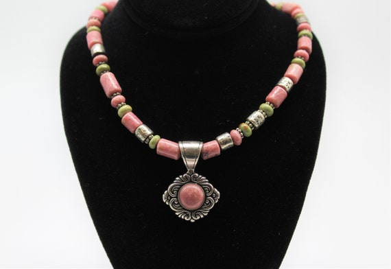 925 Sterling Silver Rhodonite Necklace 18""