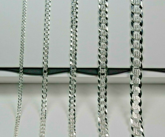 Sterling Silver Diamond-Cut Popcorn Chain 3mm Solid 925 Italy New Necklace