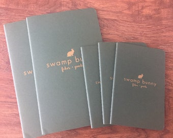 Moleskine Cahier Swamp Bunny Journal - [READY TO SHIP] - Large size, Gridded pages, Dark Green