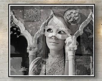 Venice art, Venice Portrait Gothic art Venetian mask Woman Portrait Mystic Portrait Double Exposure Fine art Photography Gothic Wall Art