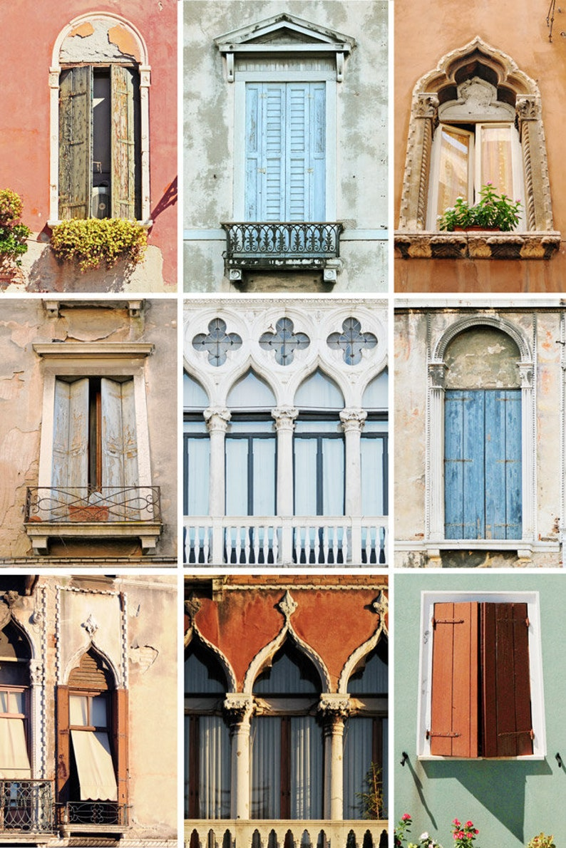 Collage Venice windows, New home, Venice architecture, Italy wall art,  Collage print, Windows art print, Travel photography, Wall room decor