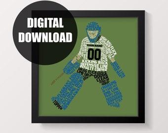 Soccer Goalie Gloves Print Soccer Print Typographic Word | Etsy