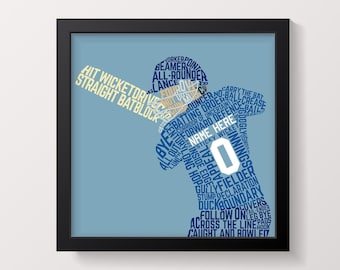 Typographic Football Player Print Customizable Football | Etsy