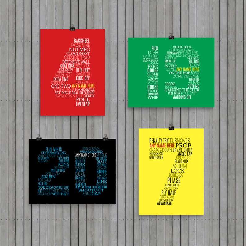 Custom Sports Typographic Number Print, Customize With Any Name, Soccer,  Hockey, Baseball, Rugby, Basketball, Football, Personalized Print
