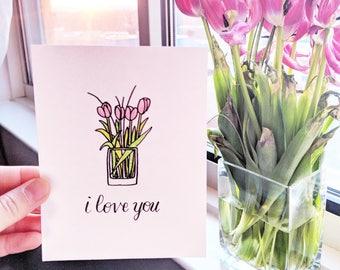 Tulips I love You Card
