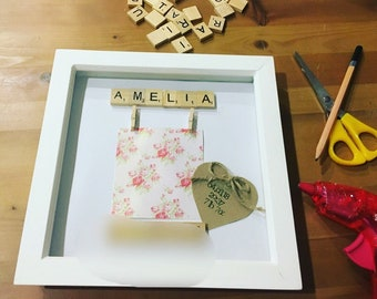 Personalised Baby Scrabble Art Frame