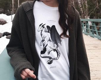 Medieval dragon shirt minimalist screen printed design, black and white line work illustration, limited edition unisex viking apparel
