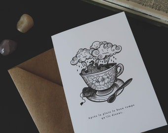 Tea cup greeting card inspiring french quote