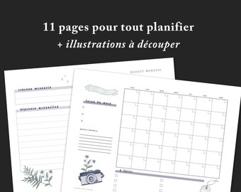 Monthly planner printable PDF download file, daily weekly calendar layout + nature illustrations pages, minimalist project planning tool kit