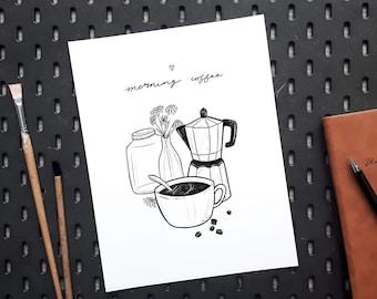 Morning Coffee poster kitchen wall decor gift for caffeine addicts, unique minimalist line work design, black ink illustration inkjet print