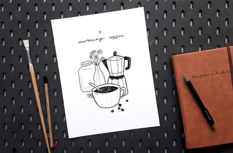 Morning Coffee poster kitchen wall decor gift for caffeine image 0