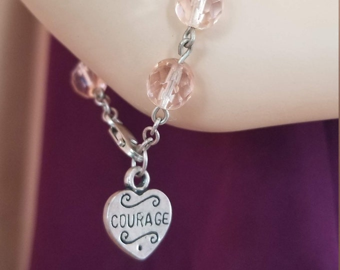 Pink Charm Bracelet with Sterling Silver Courage Heart