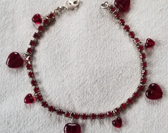 Red Heart Rhinestone Bracelet