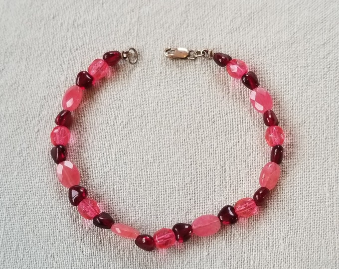 Red and Pink Heart Bracelet with Rose Quartz Crystal Beads