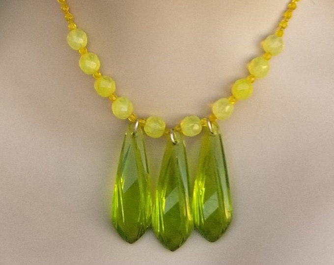 Beaded Yellow Necklace with Drop Pendants