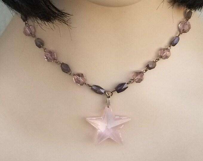 Vintage Crystal and Iolite Star Necklace