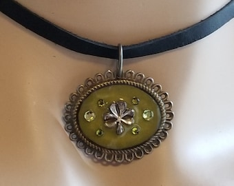 Black Leather Choker with Clover and Green Rhinestones