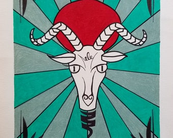 Drawing of a Goat, Student Art, Capricorn Art, Drawing with Colored Pencil and Ink, Goat Drawing