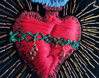 Sacred Heart Hand Embroidered Wall Art