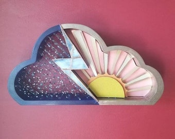 Cloud Shaped Shadow Box with Stained Glass and Beads, Lighted