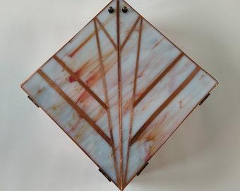 Wall Hanging Keepsake Box, Art Deco Box, Jewelry Box, Wall Art, Stained Glass Box, Wood Jewelry Box, Sentimental Box