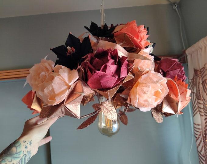 Origami Flower Chandelier, Rose Chandelier, Paper Chandelier, Origami Lighting, Shabby Chic Lighting, Origami lamp, Flower Lighting