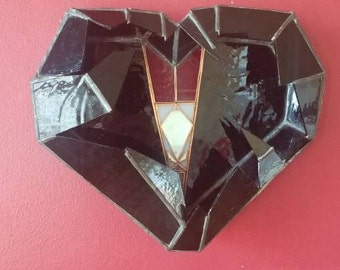 Black Stained Glass Heart - Wall Decor