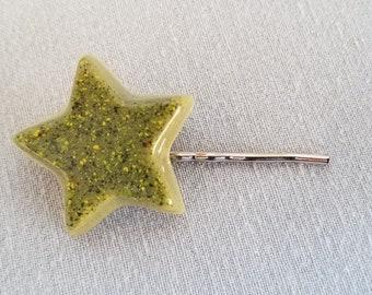 Green Resin Star Hair Barrette
