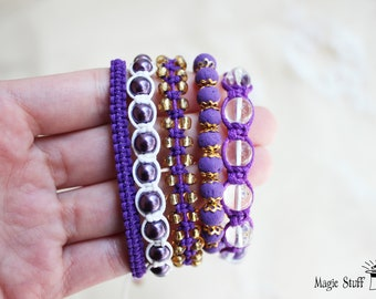 Violet Beaded Bracelet set Purple Boho bracelets Burlesque bracelets Gift for her Summer bracelet Violet outfit Purple jewelry Lovely gift