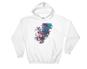 Bright And Vibrant Floral Abstract Hooded Sweatshirt