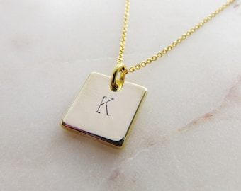 Hand Stamped Square Initial Necklace, Tiny Personalized Initial Gold Necklace, Dainty Everyday Jewelry