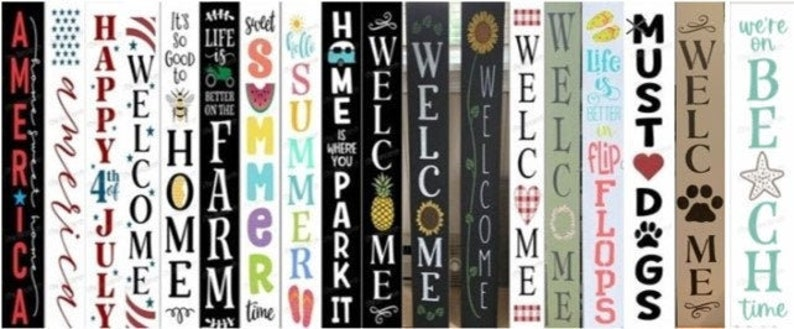 6 x 36  Reversible Double-Sided Seasonal Vertical Signs image 0