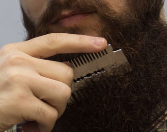 Custom Hair / Beard Metal Razor Blade Shaped Comb PERSONALIZED Gift For Man Stainless steel Groomsman Brush for friend for Dad Mens For Him