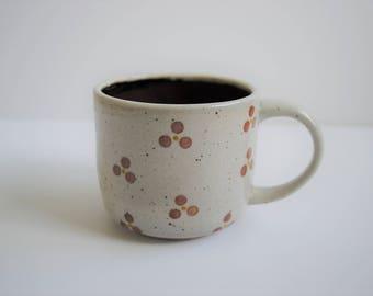 Dots and Glaze Mug - Red Burgundy Glaze Handmade Ceramic Stoneware Wheel-thrown Coffee Tea
