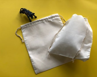10pcs of 5 x 8 Premium Organic Cotton Muslin Bags Double Drawstring Style More sizes Avail Muslin Bags