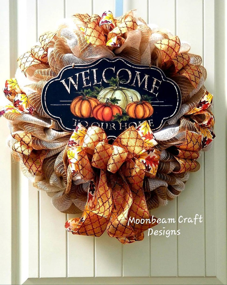Fall Wreath For Front Door Fall Decor Country Fall Door Hanger Fall Harvest Wreath Thanksgiving Wreath Fall Deco Mesh Wreath Welcome Wreath