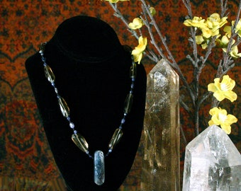 Blue Kyanite Pendant, Smoky Quartz Gemstone Necklace, Lapis Lazuli Necklace, Ethnic Jewelry, Gemstone Point Pendant, Stone Point Pendant