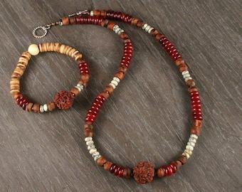 Rudraksha Mala Necklace, Rudraksha Mala Bracelet, Mens Beaded Necklace, Necklace and Bracelet Set, Yoga Jewelry, Meditation Necklace
