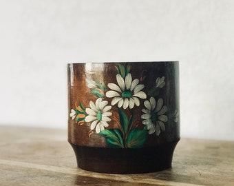 Vintage Handpainted Wood Pot, Wood Storage Bowl, Plant Pot, Vintage Toil Painting, Daisy Flowers, Wood Container, Boho Decor, Bohemian Style