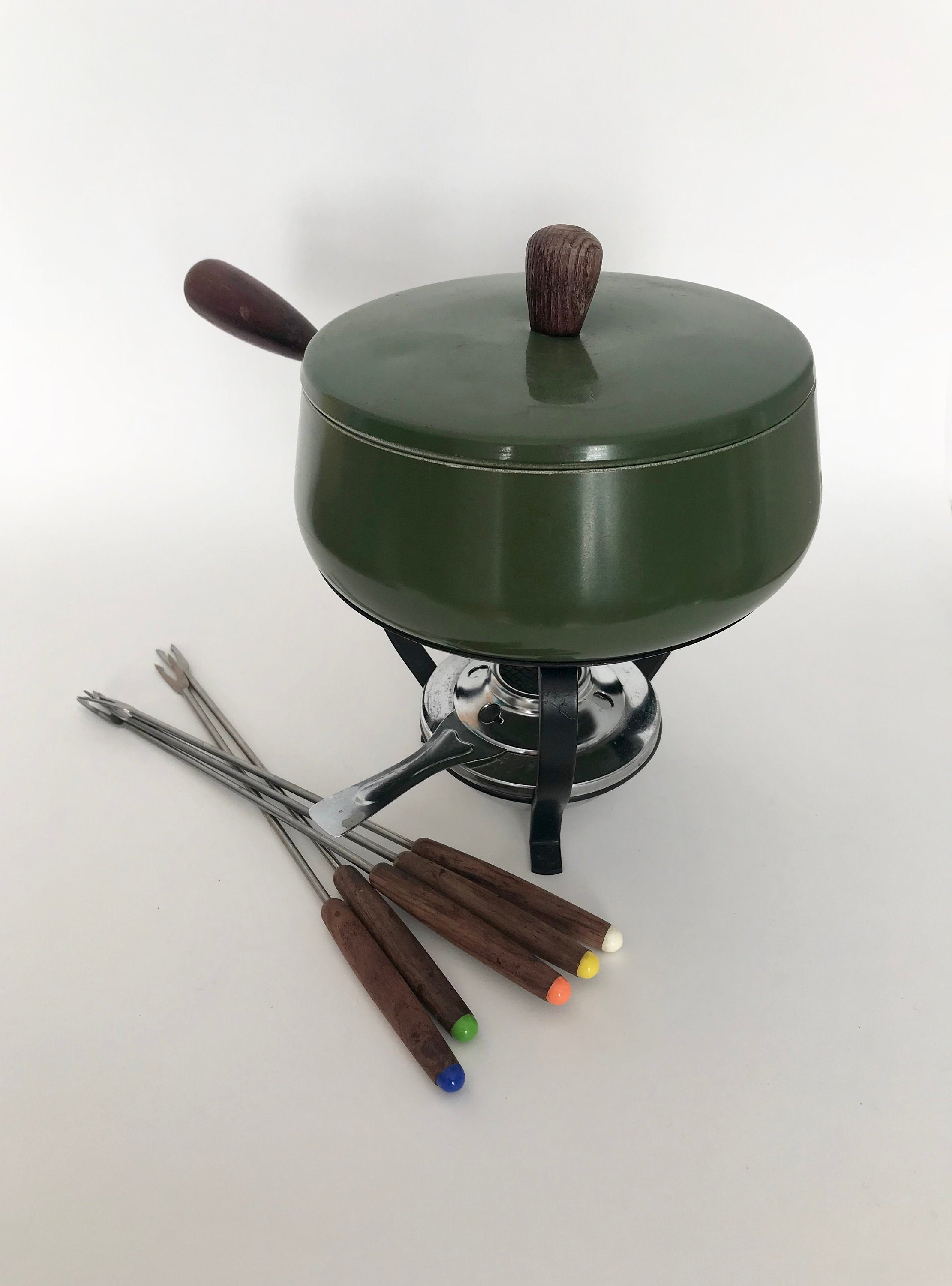 Green Fondue Pot Set Mid Century Modern Vintage Cheese Or Chocolate Fondue Pan With Wood Prongs And Stand