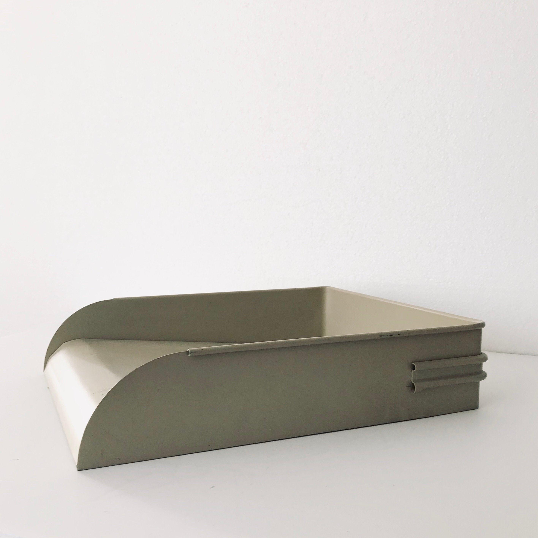 Beige Industrial Metal Office Paper Tray Desk Letter Organizer Mail Holder Office Decor Eclectic Decor Vintage Home Decor