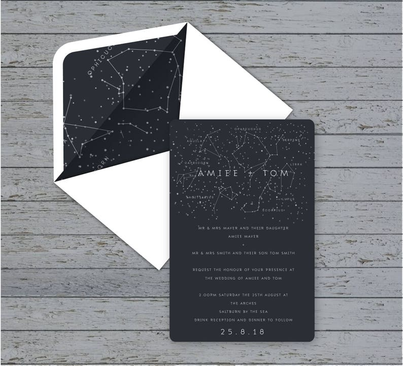 Traditional invite Save the Date Menu with matching envelopes Constellation Wedding Stationery suite RSVP