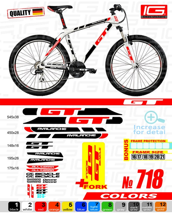 GT Bicycle Bike Frame Decals Sticker Adhesive Graphic Set Vinyl Aufkleber Yellow