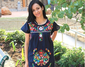 3d6744c8841 Mexican Dress Puebla Navy Blue with Multi Colored Embroidery