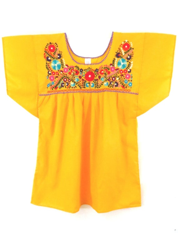 Mexican Puebla Hueyapan Blouse Red Gold Hand Embroidered SALE