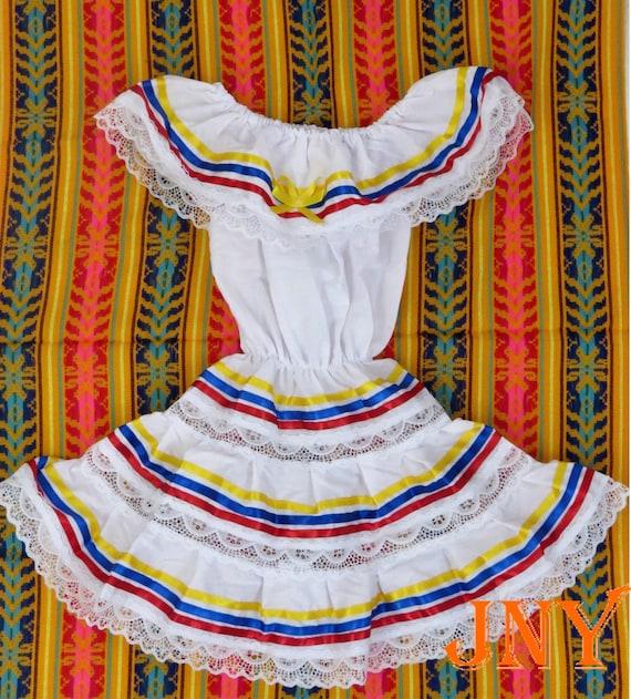 Red Colombian Dress Blue Ecuador Ribbons Dress Yellow Venezuelan Dress