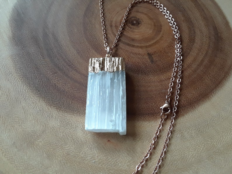 Selenite Necklace Energy Selenite Crystal Necklace Rose Gold Plated Necklace 18 Crystal Healing Necklace