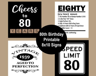 80th Birthday Party Decorations Decor Posters 1939 Cheers To 80 Years Instant Download