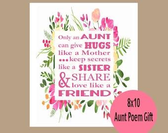 aunt gift auntie gift aunt birthday gift aunt mothers day gift aunt print gift from niece only an aunt poem aunt poetry gift